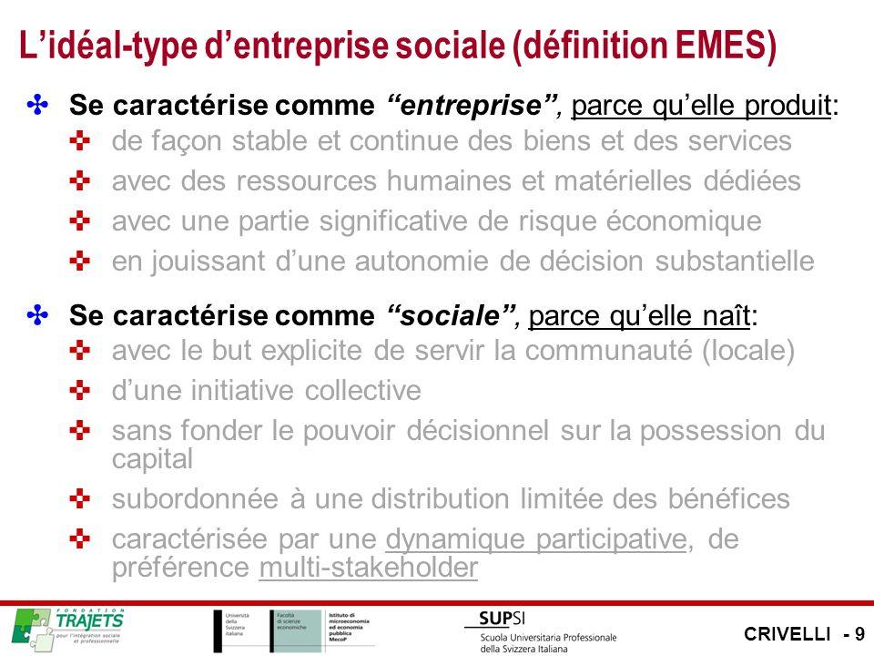 Lidéal-type dentreprise sociale (définition EMES) Se caractérise comme entreprise, parce quelle produit: de façon stable et continue des biens et des