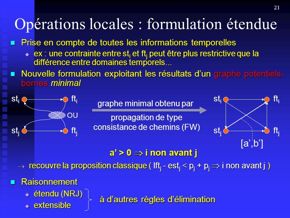 21 Opérations locales : formulation étendue Prise en compte de toutes les informations temporelles Prise en compte de toutes les informations temporelles ex : une contrainte entre st i et ft j peut être plus restrictive que la différence entre domaines temporels...