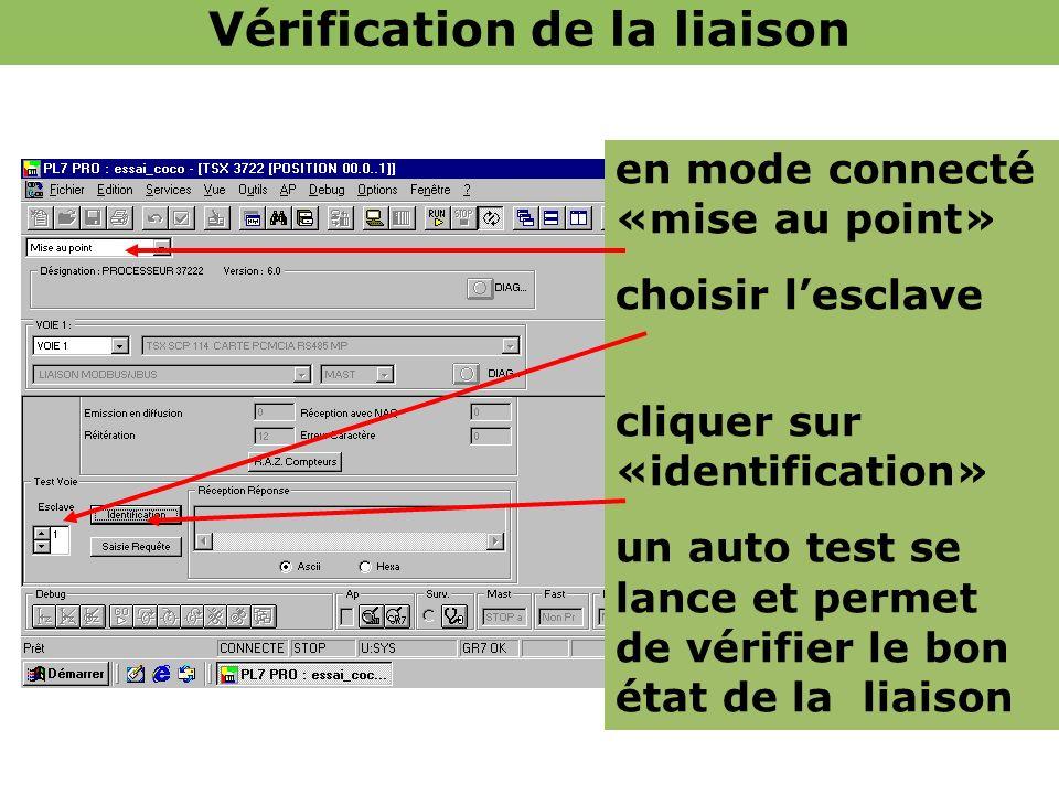 en mode connecté «mise au point» choisir lesclave cliquer sur «identification» un auto test se lance et permet de vérifier le bon état de la liaison V