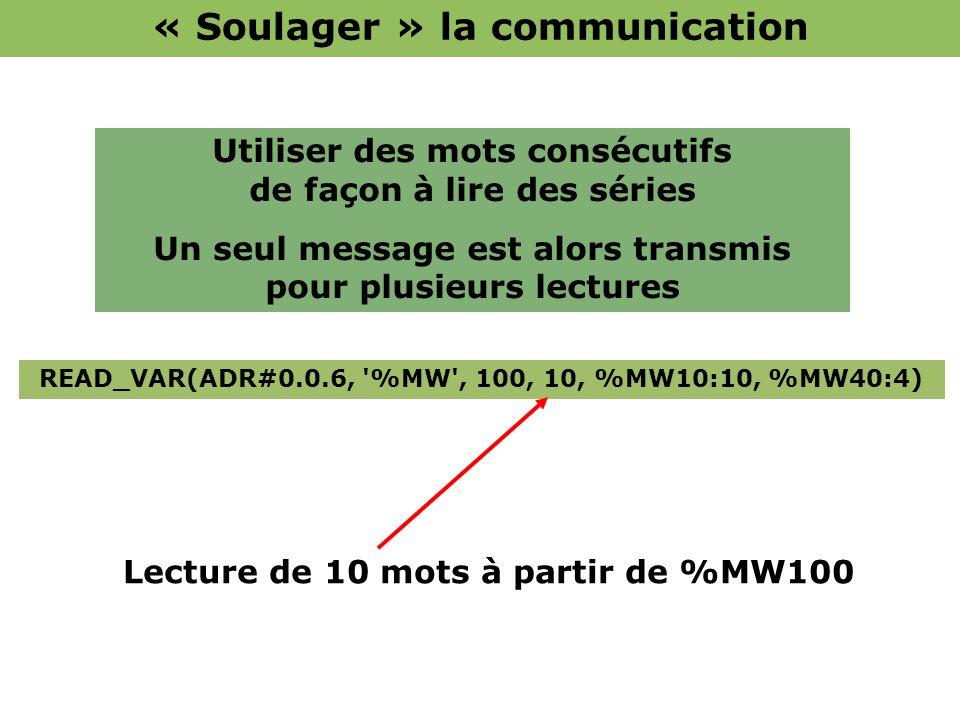 READ_VAR(ADR#0.0.6, '%MW', 100, 10, %MW10:10, %MW40:4) Utiliser des mots consécutifs de façon à lire des séries Un seul message est alors transmis pou