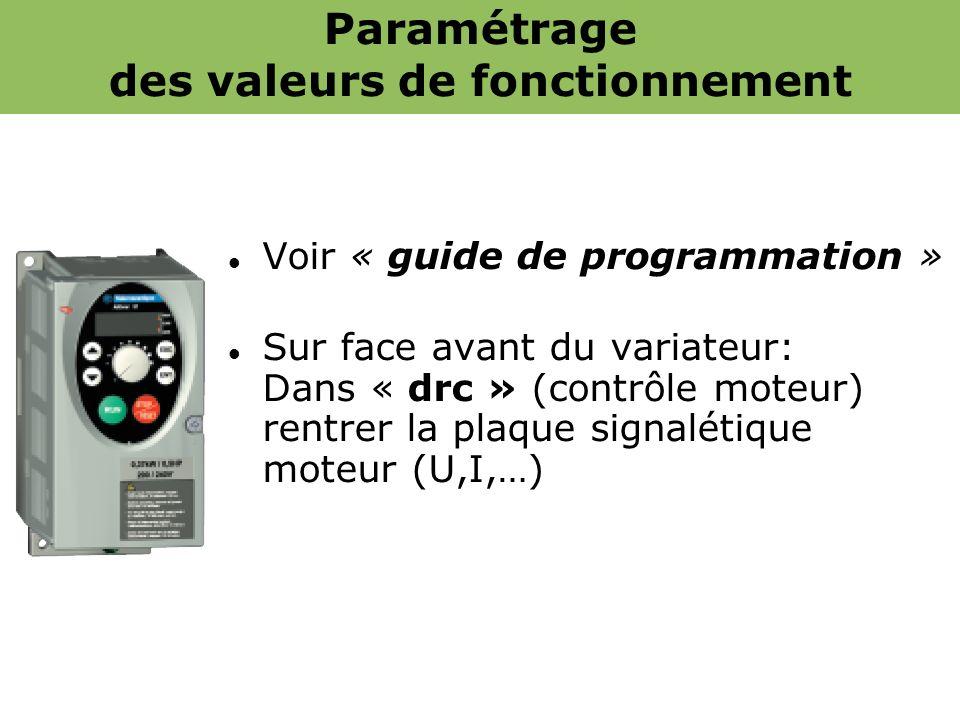 Paramétrage des valeurs de fonctionnement Voir « guide de programmation » Sur face avant du variateur: Dans « drc » (contrôle moteur) rentrer la plaqu