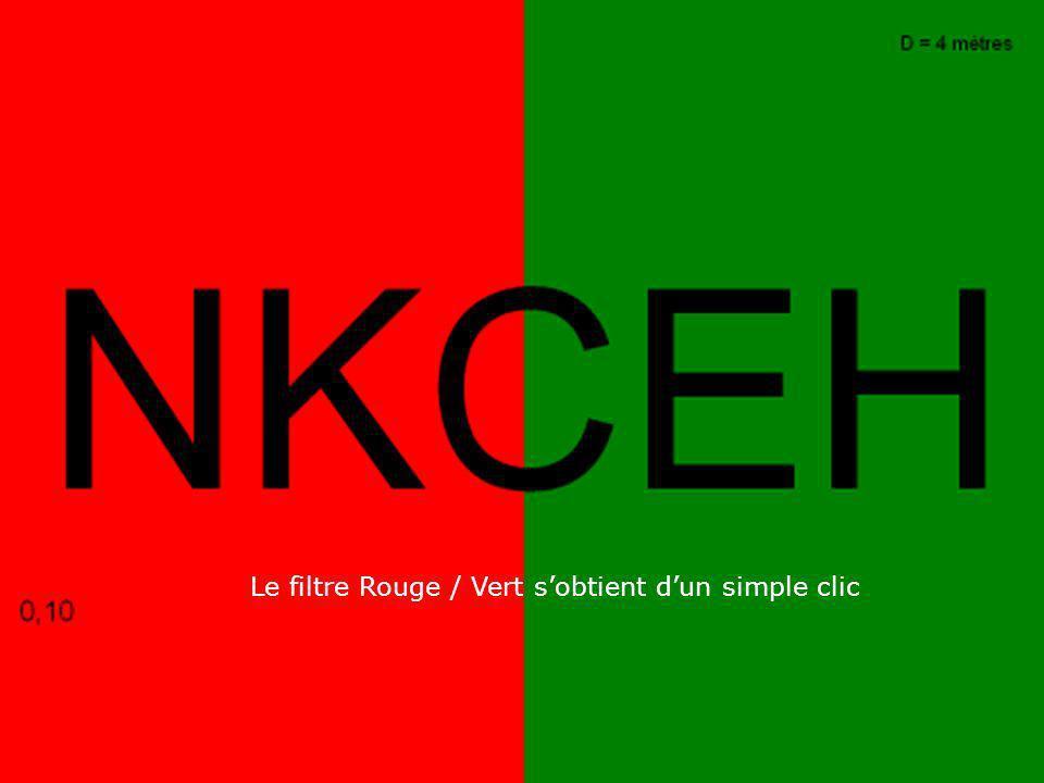 Le filtre Rouge / Vert sobtient dun simple clic
