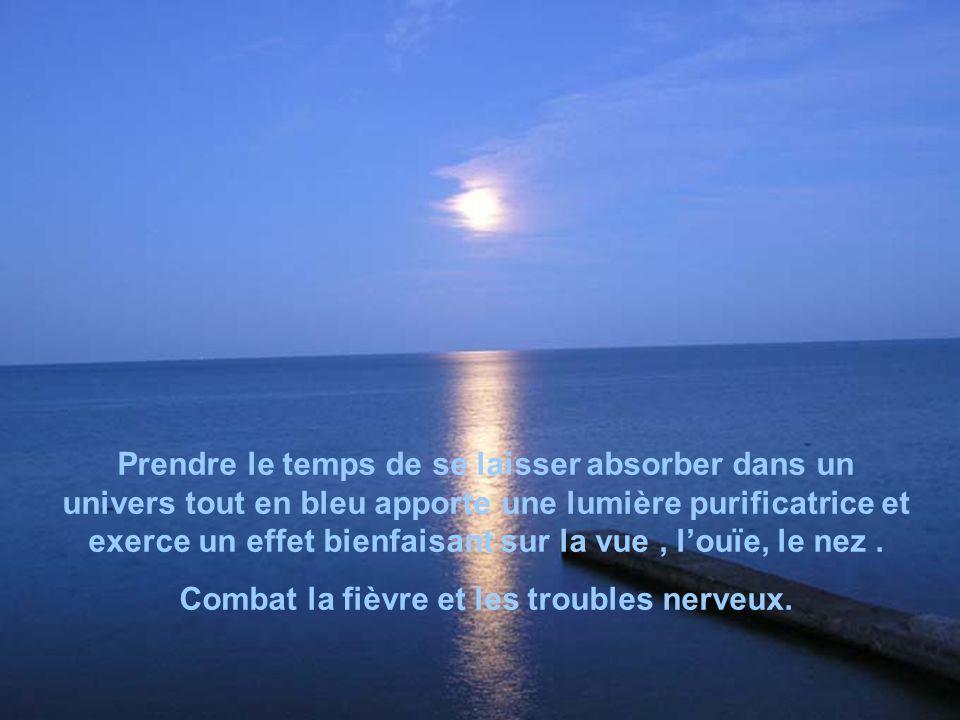 LeBLEU bleu considéré comme le rayon de lamour, sur le plan le plus noble. Il symbolise lharmonie, la vérité, la sérénité. Il apaise et calme lesprit.