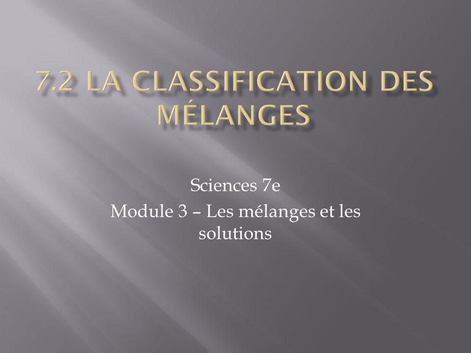 Sciences 7e Module 3 – Les mélanges et les solutions