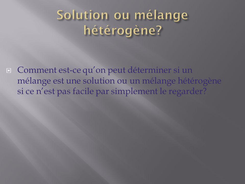 Comment est-ce quon peut déterminer si un mélange est une solution ou un mélange hétérogène si ce nest pas facile par simplement le regarder?