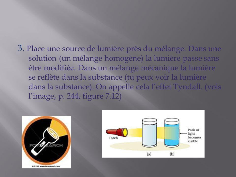 3. Place une source de lumière près du mélange. Dans une solution (un mélange homogène) la lumière passe sans être modifi ée. Dans un mélange mécaniqu