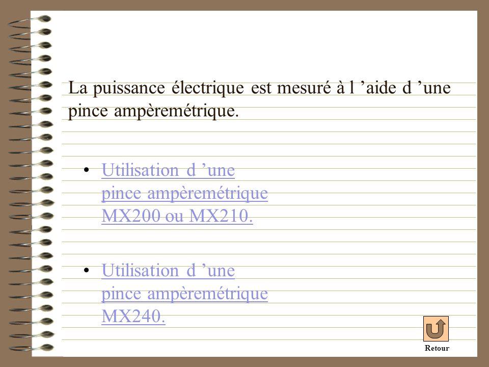La puissance électrique est mesuré à l aide d une pince ampèremétrique. Utilisation d une pince ampèremétrique MX200 ou MX210.Utilisation d une pince