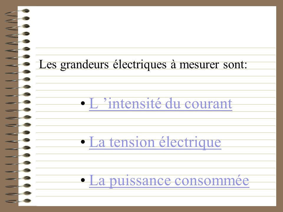 Les grandeurs électriques à mesurer sont: L intensité du courant La tension électrique La puissance consommée
