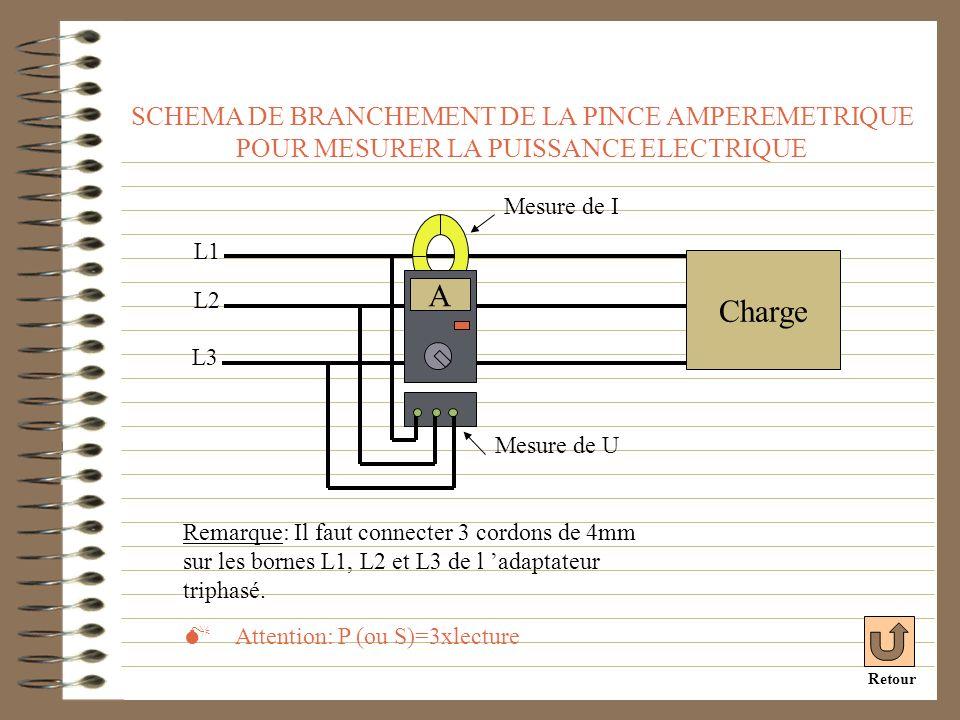 SCHEMA DE BRANCHEMENT DE LA PINCE AMPEREMETRIQUE POUR MESURER LA PUISSANCE ELECTRIQUE L2 L1 Charge A Remarque: Il faut connecter 3 cordons de 4mm sur