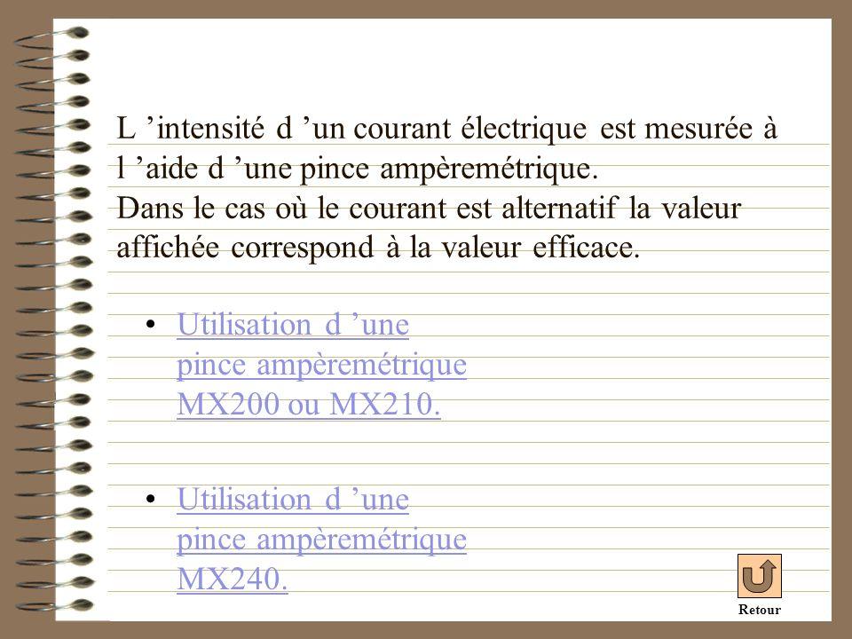 L intensité d un courant électrique est mesurée à l aide d une pince ampèremétrique. Dans le cas où le courant est alternatif la valeur affichée corre