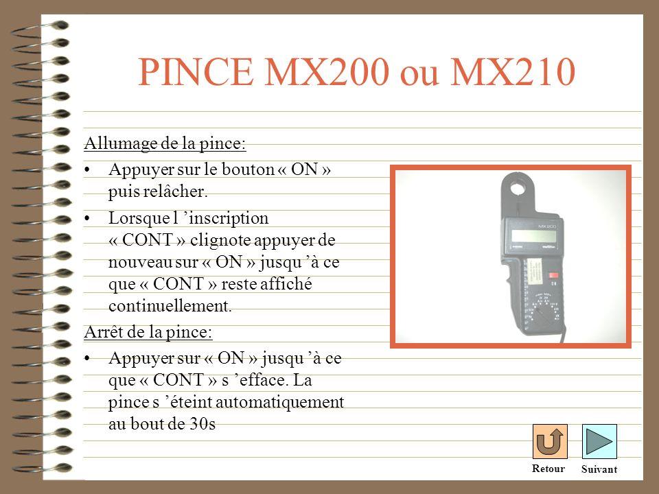 PINCE MX240 Allumage de la pince: Tourner le commutateur sur « A ».