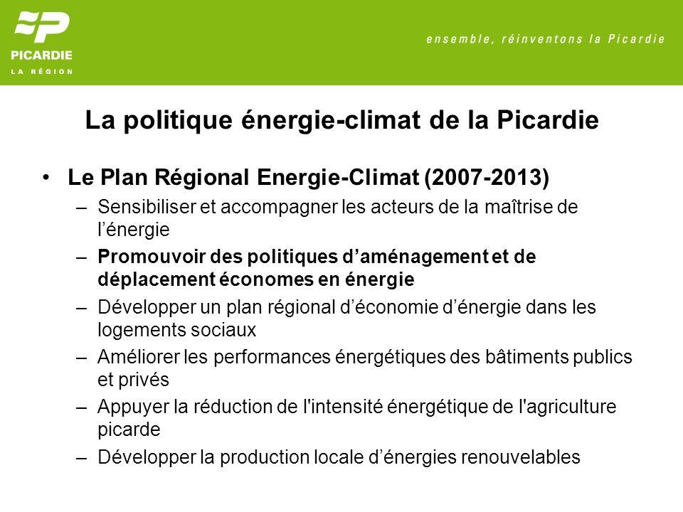 La politique énergie-climat de la Picardie Le Plan Régional Energie-Climat (2007-2013) –Sensibiliser et accompagner les acteurs de la maîtrise de lénergie –Promouvoir des politiques daménagement et de déplacement économes en énergie –Développer un plan régional déconomie dénergie dans les logements sociaux –Améliorer les performances énergétiques des bâtiments publics et privés –Appuyer la réduction de l intensité énergétique de l agriculture picarde –Développer la production locale dénergies renouvelables