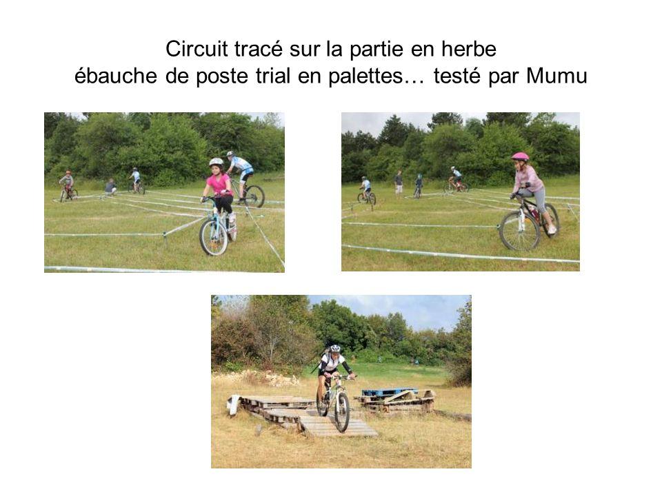 Circuit tracé sur la partie en herbe ébauche de poste trial en palettes… testé par Mumu
