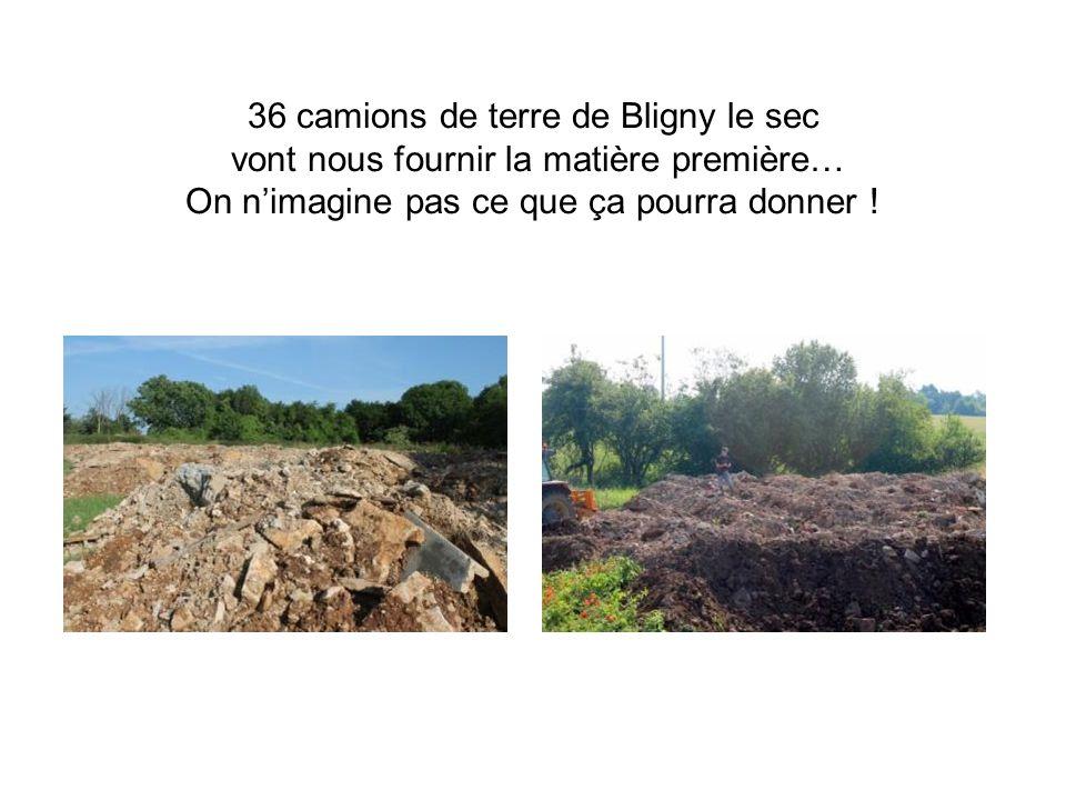 36 camions de terre de Bligny le sec vont nous fournir la matière première… On nimagine pas ce que ça pourra donner !