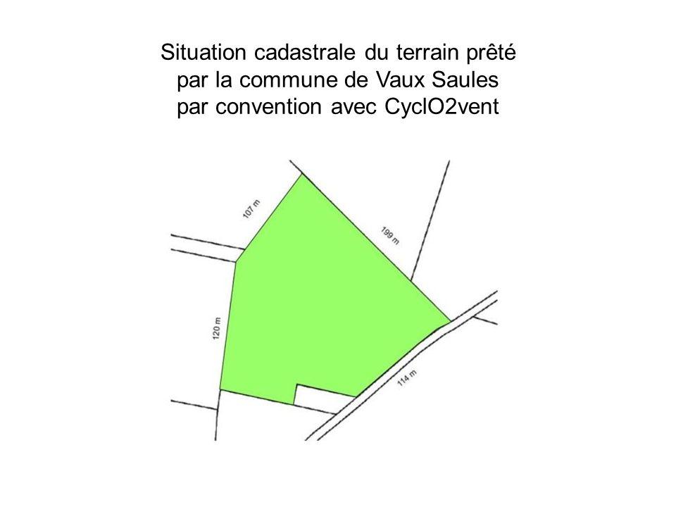Situation cadastrale du terrain prêté par la commune de Vaux Saules par convention avec CyclO2vent