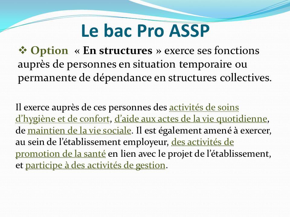 Le bac Pro ASSP Option « En structures » exerce ses fonctions auprès de personnes en situation temporaire ou permanente de dépendance en structures co