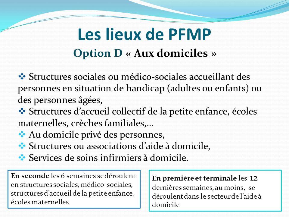 Les lieux de PFMP Option D « Aux domiciles » Structures sociales ou médico-sociales accueillant des personnes en situation de handicap (adultes ou enf
