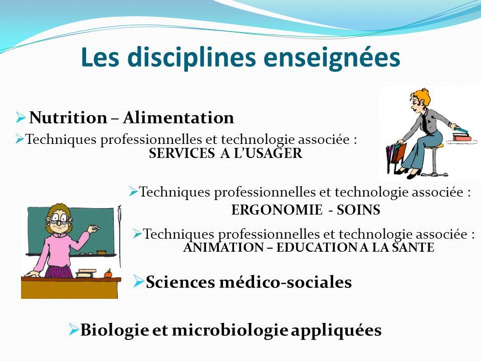Les disciplines enseignées Nutrition – Alimentation Techniques professionnelles et technologie associée : SERVICES A LUSAGER Techniques professionnell