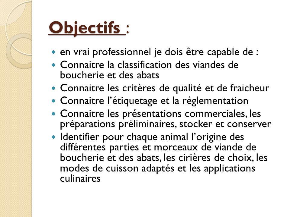 Objectifs : en vrai professionnel je dois être capable de : Connaitre la classification des viandes de boucherie et des abats Connaitre les critères d