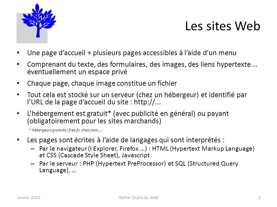 Les sites Web : création Ecriture du site : – Par un professionnel (société spécialisée) – Par un amateur éclairé ; plusieurs outils à disposition : Logiciel éditeur HTML (gratuit / payant) - en local Logiciel de création de site - en local Outil de création de site directement en ligne sur Internet (gratuit / payant pour un site professionnel) : 1&1, …1&1 Chaque page comporte, en entête, une section (balises META) contenant une liste de mots-clés et une description du contenu ; ces informations sont utilisées par les moteurs de recherche Transfert sur le serveur : – à laide du logiciel décriture du site – à laide dun logiciel de transfert par FTP (FileZilla …) Les blogs et les forums sont des sites Web aux fonctionnalités particulières Janvier 2013Atelier outils du Web3