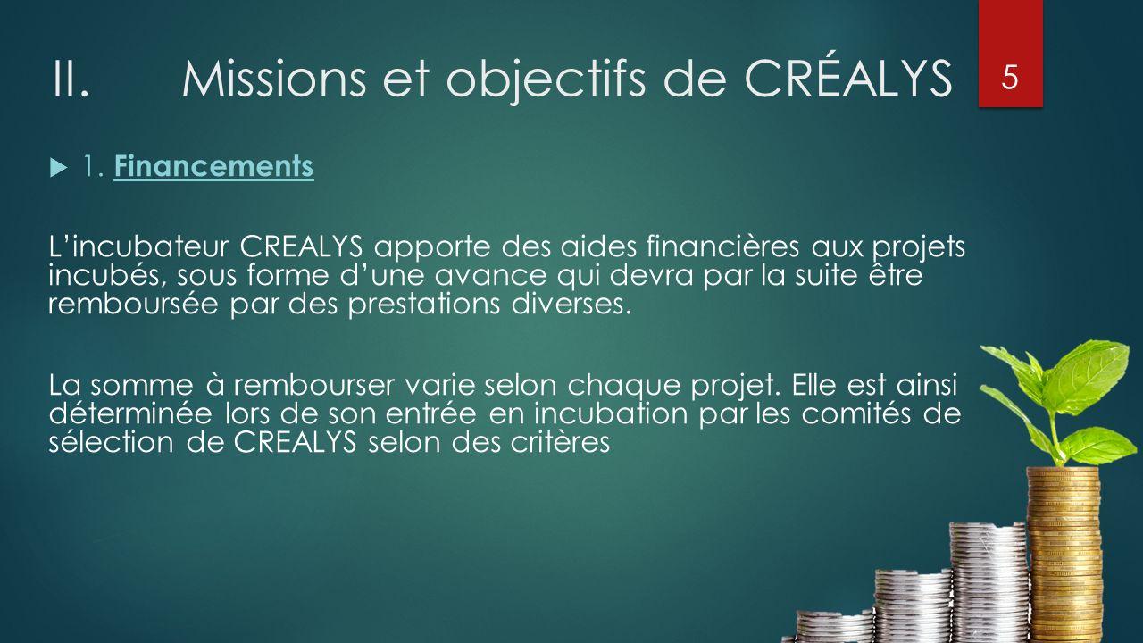 II.Missions et objectifs de CRÉALYS 1. Financements Lincubateur CREALYS apporte des aides financières aux projets incubés, sous forme dune avance qui