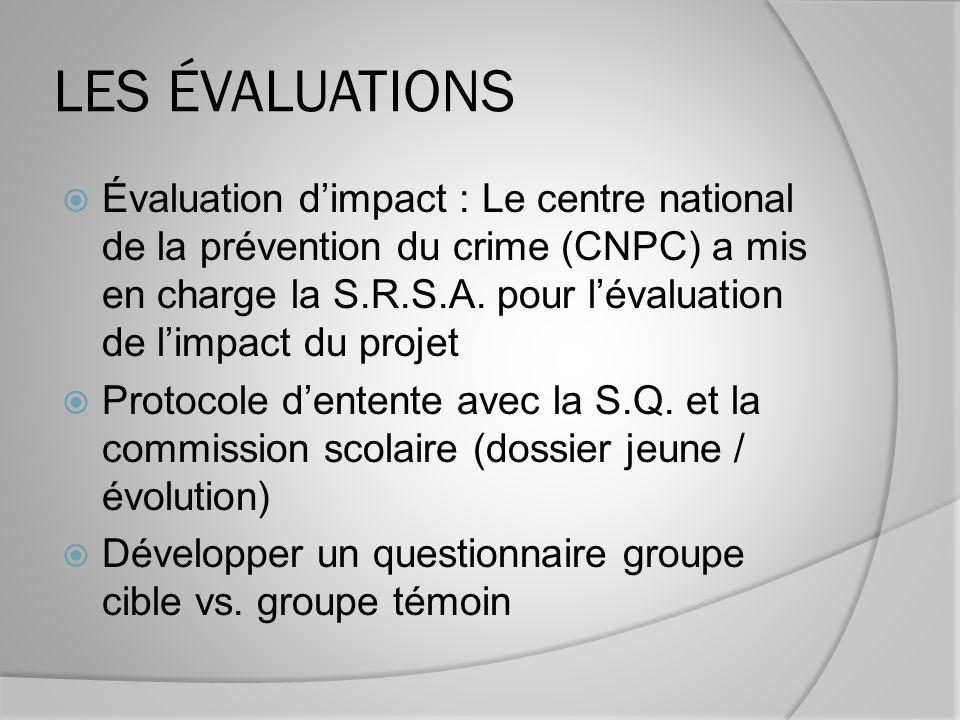 LES ÉVALUATIONS Évaluation dimpact : Le centre national de la prévention du crime (CNPC) a mis en charge la S.R.S.A.