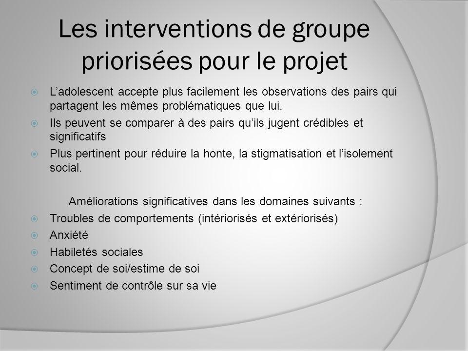 Les interventions de groupe priorisées pour le projet Ladolescent accepte plus facilement les observations des pairs qui partagent les mêmes problématiques que lui.