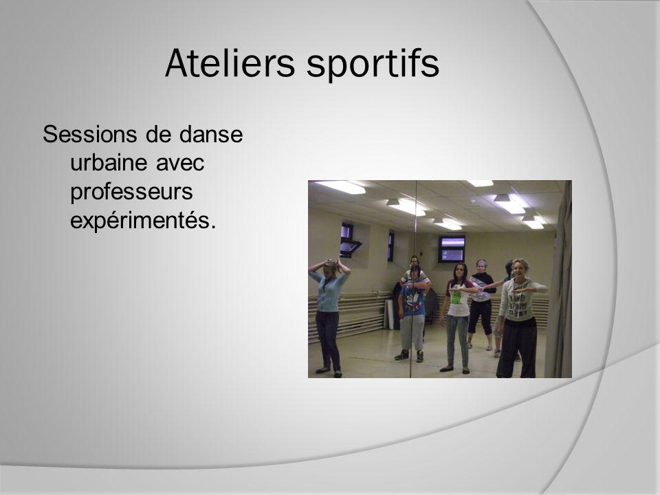 Ateliers sportifs Sessions de danse urbaine avec professeurs expérimentés.