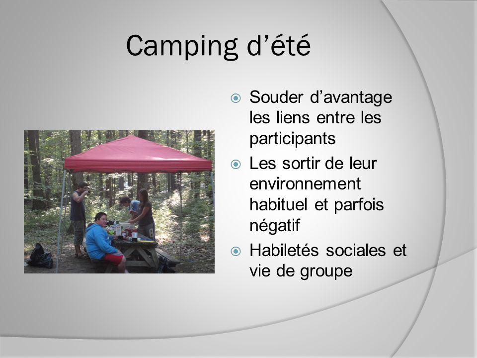 Camping dété Souder davantage les liens entre les participants Les sortir de leur environnement habituel et parfois négatif Habiletés sociales et vie de groupe