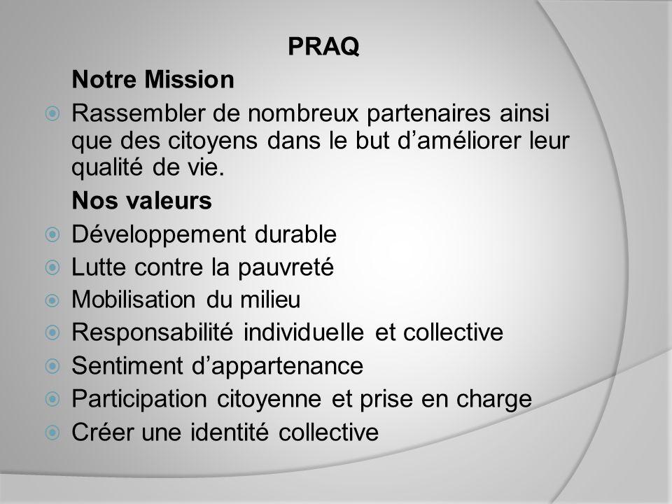 PRAQ Notre Mission Rassembler de nombreux partenaires ainsi que des citoyens dans le but daméliorer leur qualité de vie.