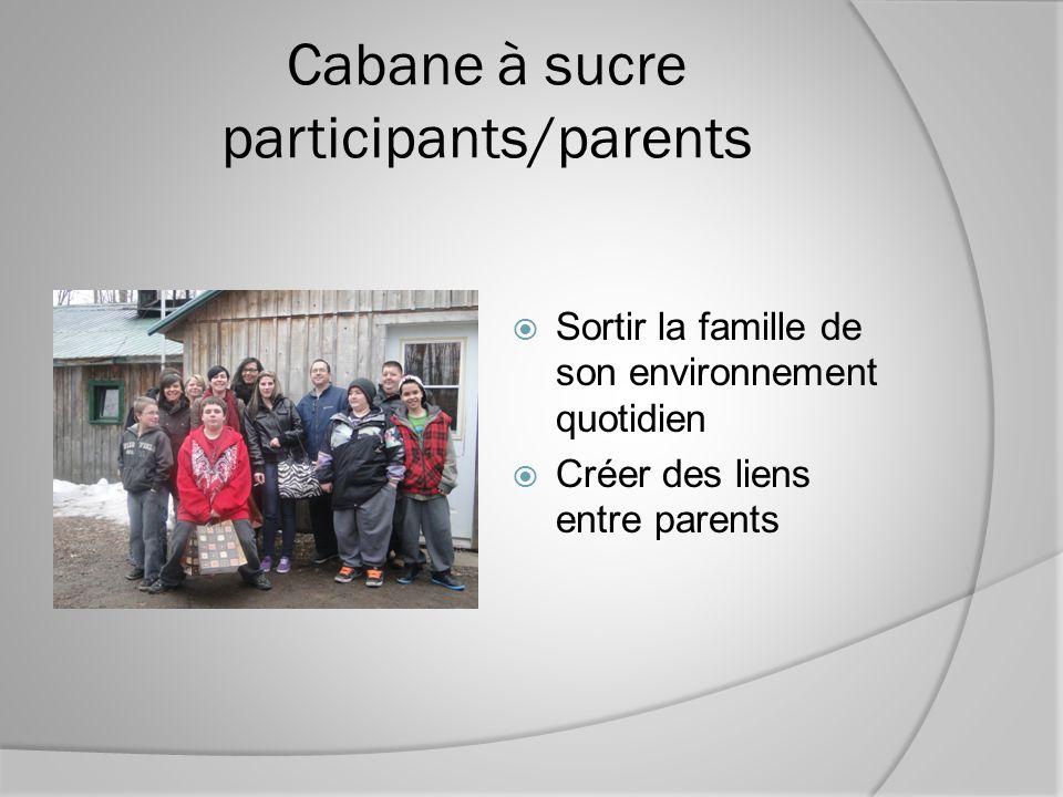 Cabane à sucre participants/parents Sortir la famille de son environnement quotidien Créer des liens entre parents