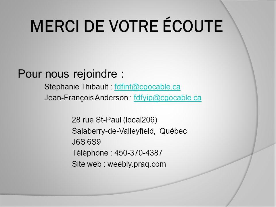 MERCI DE VOTRE ÉCOUTE Pour nous rejoindre : Stéphanie Thibault : fdfint@cgocable.cafdfint@cgocable.ca Jean-François Anderson : fdfyip@cgocable.cafdfyip@cgocable.ca 28 rue St-Paul (local206) Salaberry-de-Valleyfield, Québec J6S 6S9 Téléphone : 450-370-4387 Site web : weebly.praq.com