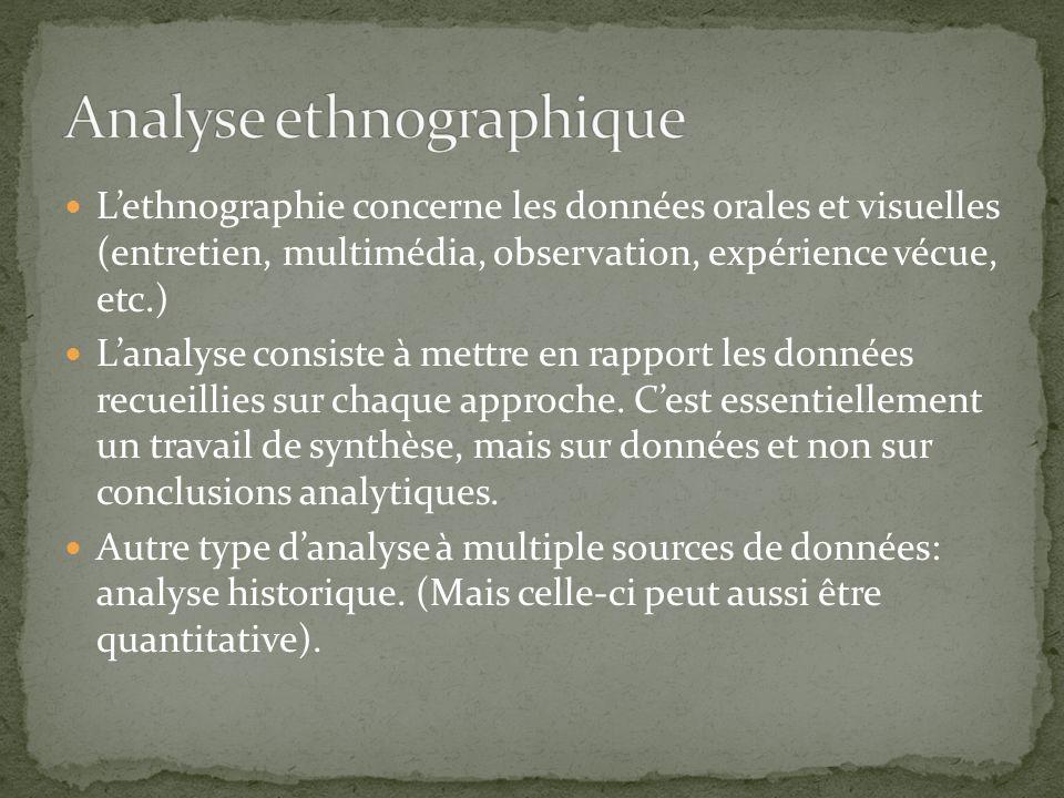 Lethnographie concerne les données orales et visuelles (entretien, multimédia, observation, expérience vécue, etc.) Lanalyse consiste à mettre en rapport les données recueillies sur chaque approche.