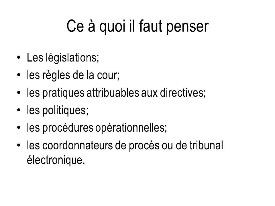 Ce à quoi il faut penser Les législations; les règles de la cour; les pratiques attribuables aux directives; les politiques; les procédures opérationnelles; les coordonnateurs de procès ou de tribunal électronique.