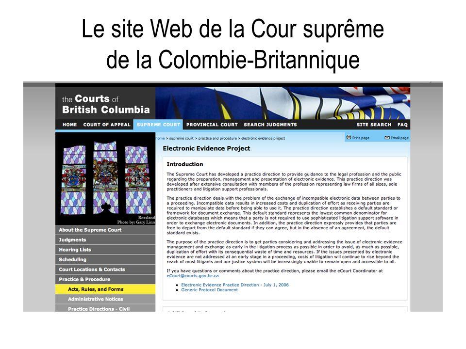 Le site Web de la Cour suprême de la Colombie-Britannique