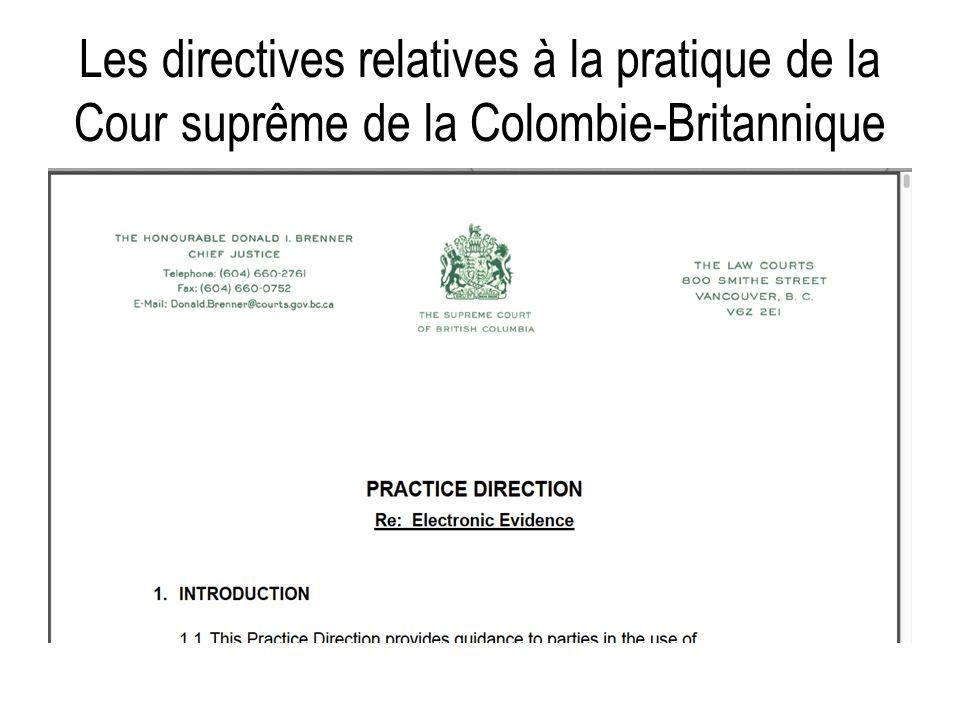 Les directives relatives à la pratique de la Cour suprême de la Colombie-Britannique