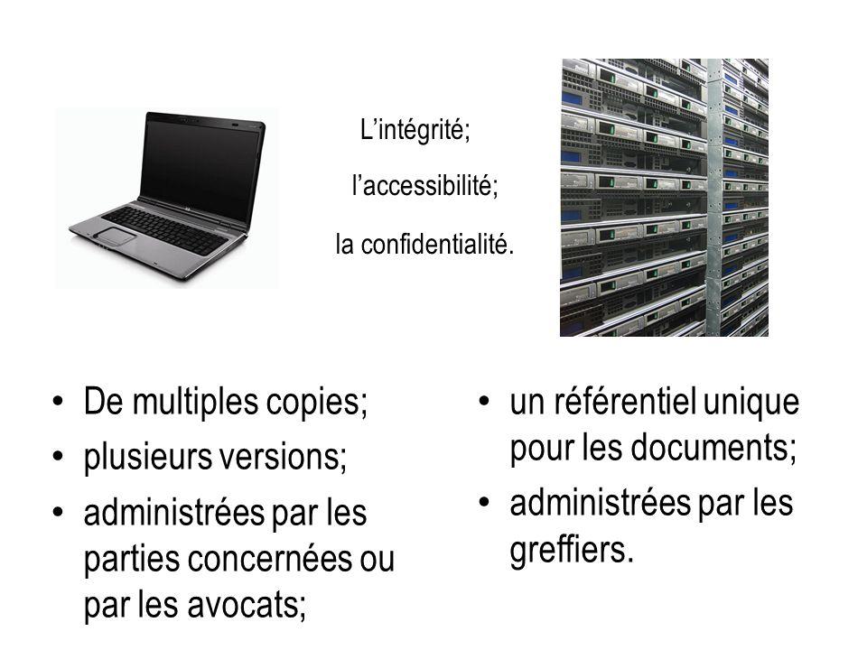 De multiples copies; plusieurs versions; administrées par les parties concernées ou par les avocats; un référentiel unique pour les documents; administrées par les greffiers.