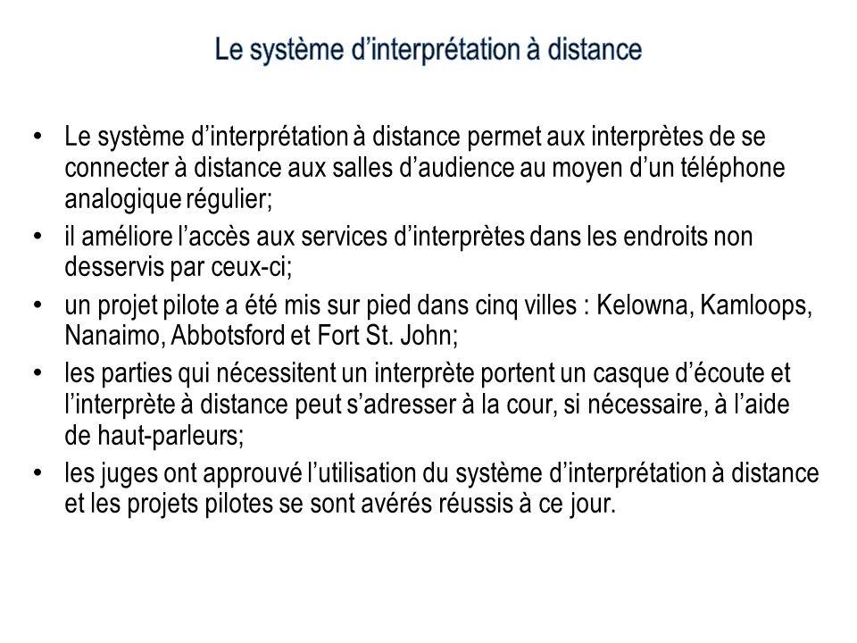 Le système dinterprétation à distance permet aux interprètes de se connecter à distance aux salles daudience au moyen dun téléphone analogique régulie