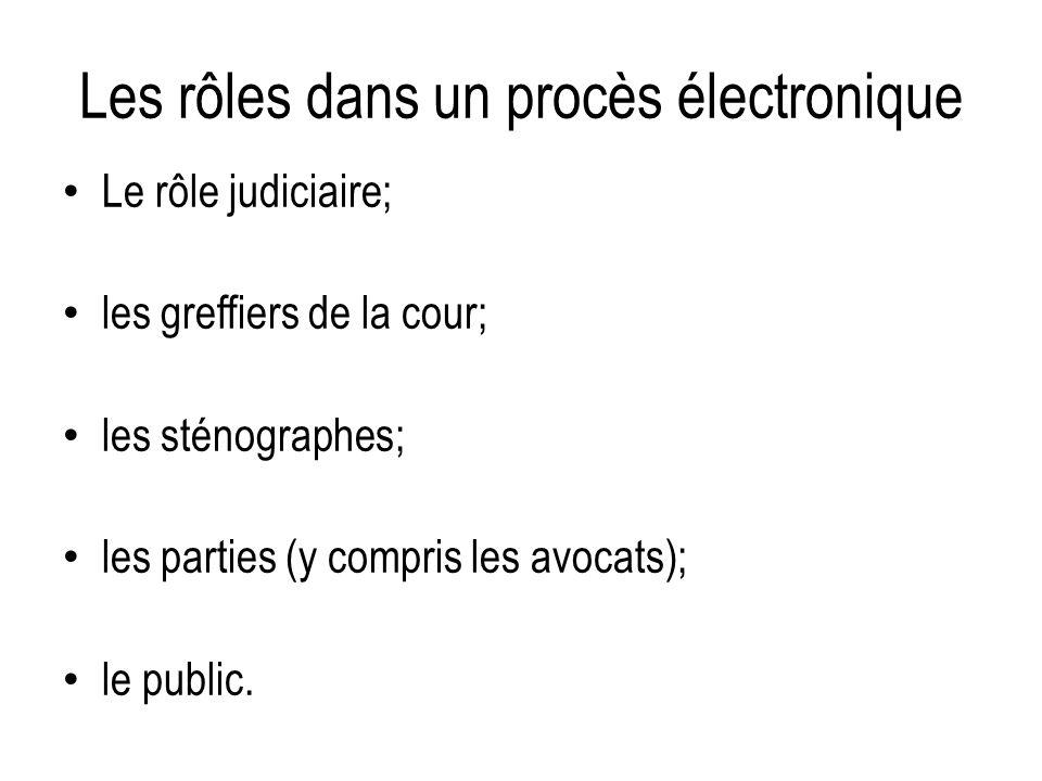 Les rôles dans un procès électronique Le rôle judiciaire; les greffiers de la cour; les sténographes; les parties (y compris les avocats); le public.