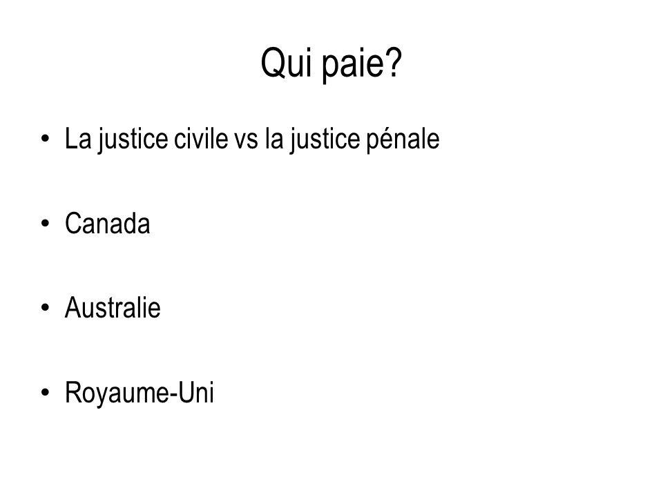 Qui paie? La justice civile vs la justice pénale Canada Australie Royaume-Uni
