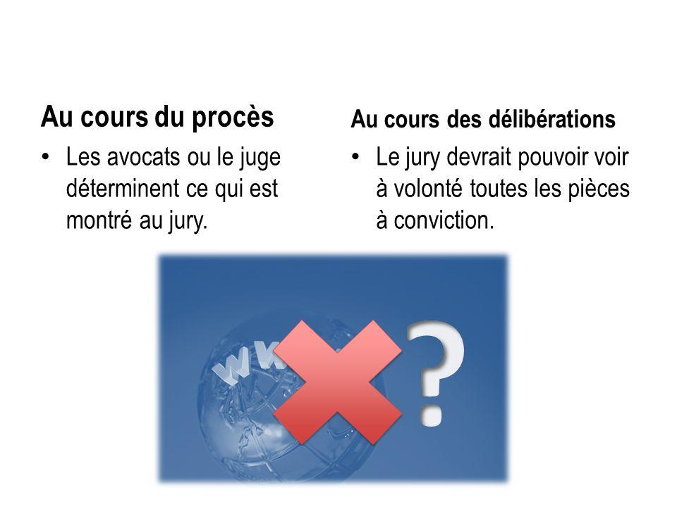 Au cours du procès Les avocats ou le juge déterminent ce qui est montré au jury. Au cours des délibérations Le jury devrait pouvoir voir à volonté tou