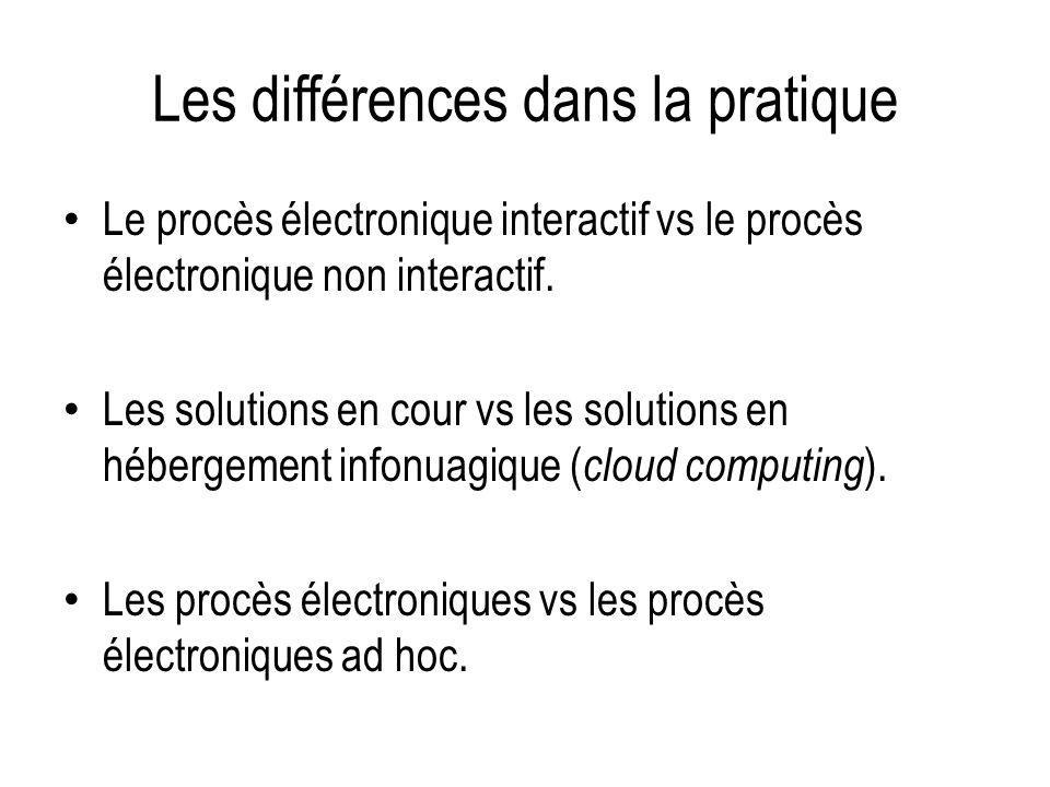 Les différences dans la pratique Le procès électronique interactif vs le procès électronique non interactif. Les solutions en cour vs les solutions en