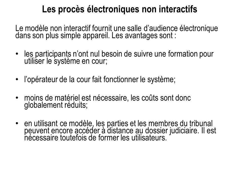 Les procès électroniques non interactifs Le modèle non interactif fournit une salle daudience électronique dans son plus simple appareil. Les avantage