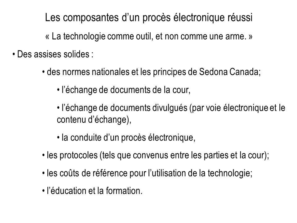 Les composantes dun procès électronique réussi « La technologie comme outil, et non comme une arme. » Des assises solides : des normes nationales et l