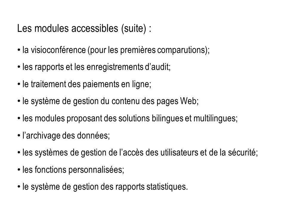 Les modules accessibles (suite) : la visioconférence (pour les premières comparutions); les rapports et les enregistrements daudit; le traitement des