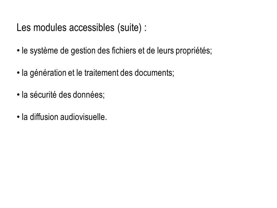 Les modules accessibles (suite) : le système de gestion des fichiers et de leurs propriétés; la génération et le traitement des documents; la sécurité