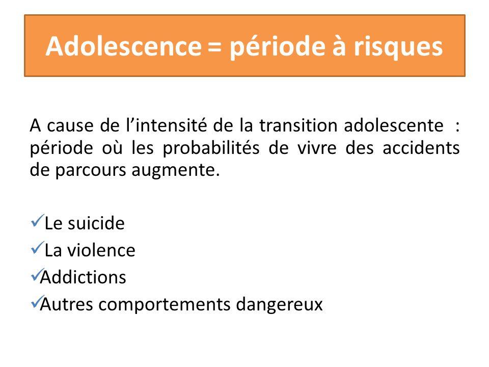 Adolescence = période à risques A cause de lintensité de la transition adolescente : période où les probabilités de vivre des accidents de parcours au