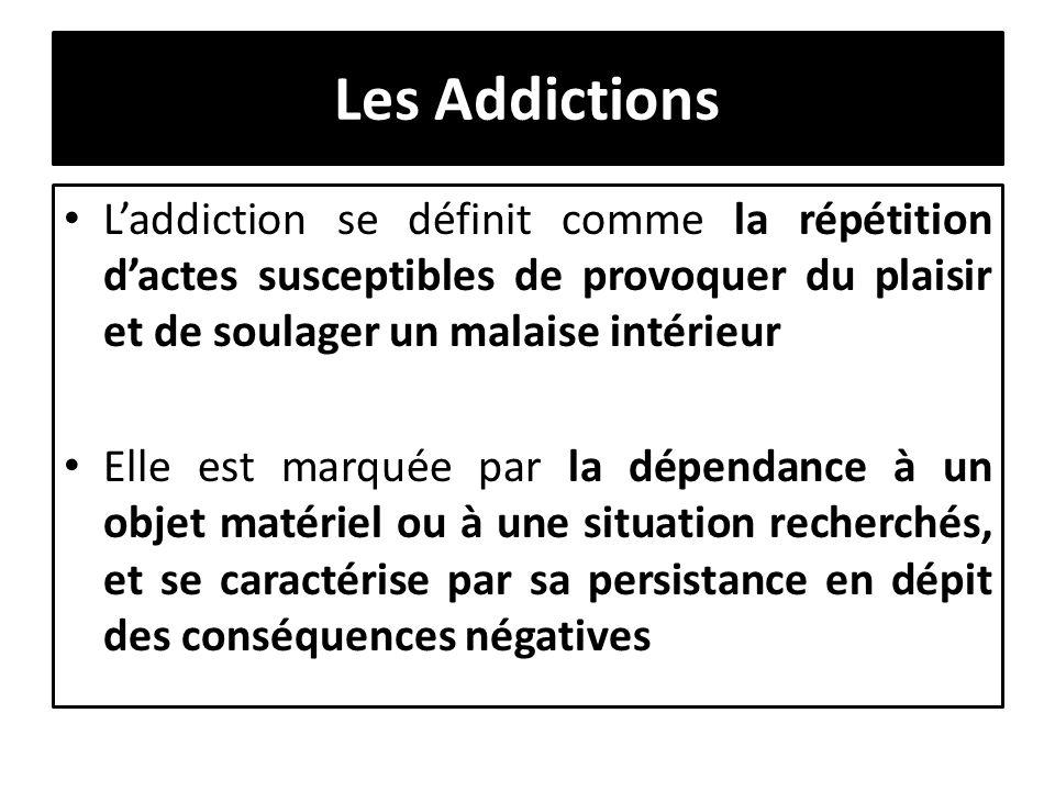 Les Addictions Laddiction se définit comme la répétition dactes susceptibles de provoquer du plaisir et de soulager un malaise intérieur Elle est marq
