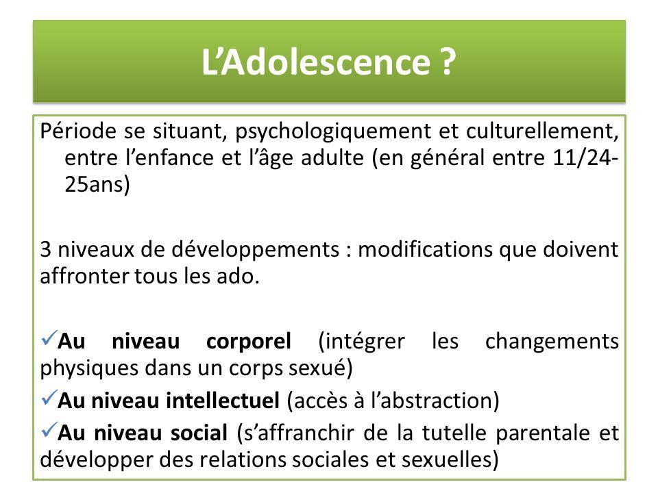 LAdolescence ? Période se situant, psychologiquement et culturellement, entre lenfance et lâge adulte (en général entre 11/24- 25ans) 3 niveaux de dév