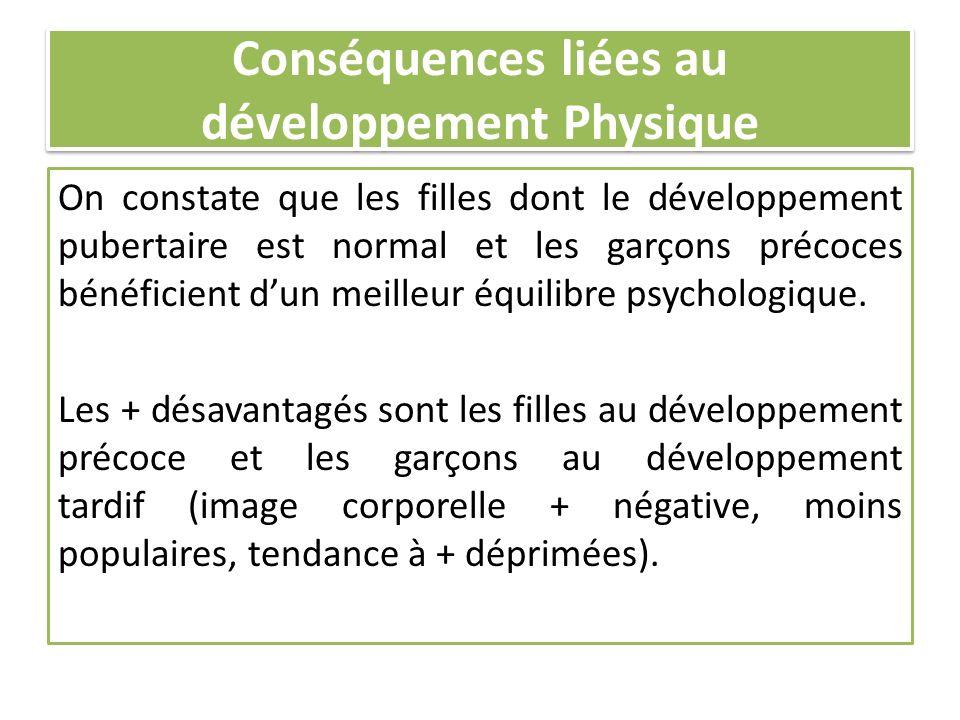 Conséquences liées au développement Physique On constate que les filles dont le développement pubertaire est normal et les garçons précoces bénéficien
